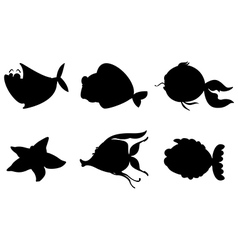 Different silhouettes of sea creatures vector image vector image