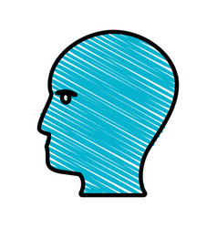 Drawing blue profile head idea vector