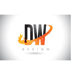 dw d w letter logo with fire flames design and vector image