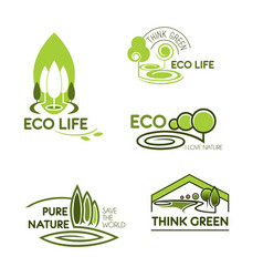 Eco life think green icon set for ecology design vector