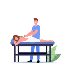 Female character applying acupuncture therapy vector