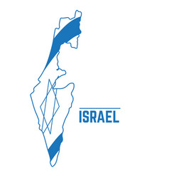 Flag and map of israel vector