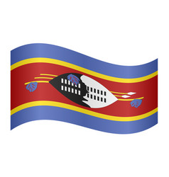 flag of swaziland waving on white background vector image vector image