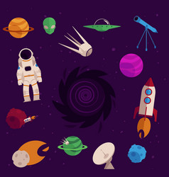 Flat space cosmos objects icon set vector