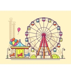 Funfair with ferris wheel vector
