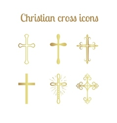 Golden christian cross set vector image vector image