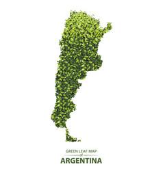 Green leaf map argentina a vector