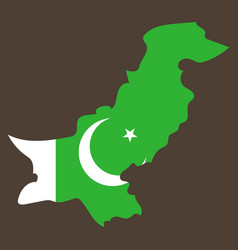 Grunge map of pakistan with pakistanian flag vector
