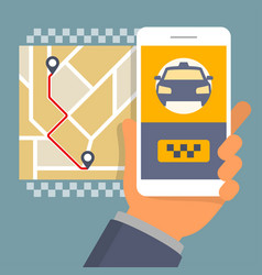 hand holding phone with taxi hire service app vector image