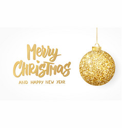 hanging christmas golden ball isolated on white vector image