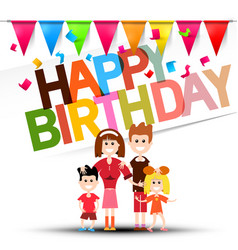 happy birthday celebration with flags confetti vector image