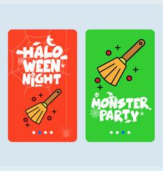 happy halloween invitation design with broom vector image