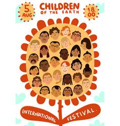 International human faces poster vector