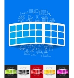 Keyboard paper sticker with hand drawn elements vector