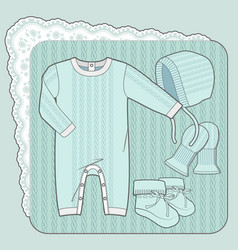 Knitted collection for a newborn baby mint vector