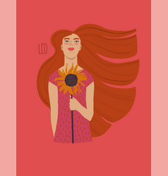 leo zodiac sign with girl vector image