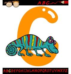 Letter c for chameleon cartoon vector