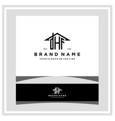Letter dhf home roof logo design and business card vector