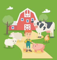 little caucasian boy with farm animals vector image