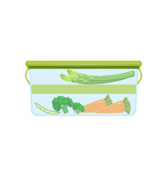 Lunch box with vegetables healthy food for kids vector