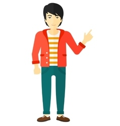 Man pointing up with his forefinger vector image