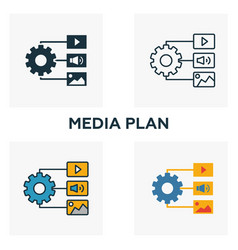 media plan icon set four elements in different vector image