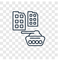 militar tank in city street concept linear icon vector image