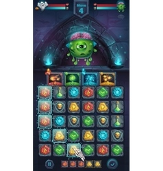 Monster battle GUI freak with brain vector image