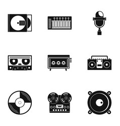 music recording icon set simple style vector image