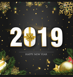 new year 2019 card with 3d gold holiday decoration vector image