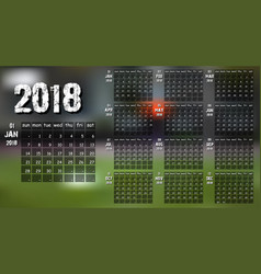 new year calendar 2018 vector image
