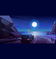 Night road trip car travel on jeep at highway vector