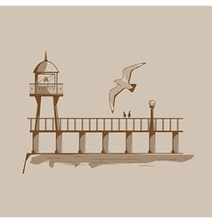 Old lighthouse on a pier vector