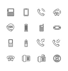 Phones- flat line icons vector