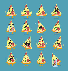 Pizza character emoji set vector