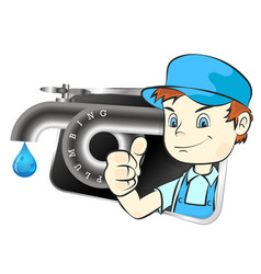 plumber and water faucet symbol vector image
