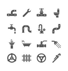 Plumbing service objects tools bathroom vector image