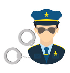 Police agent with handcuffs vector
