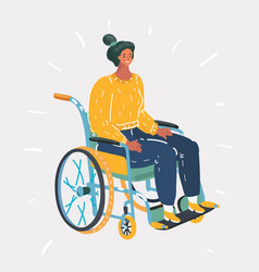 Portrait a senior woman with wheelchair vector