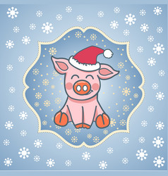 postcard template pig in a hat vector image