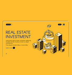 real estate investment isometric landing page vector image