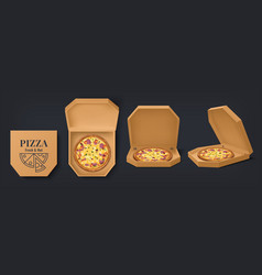 realistic box with pizza 3d cardboard open and vector image