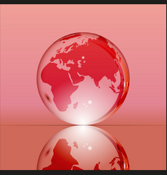 red shining transparent earth globe vector image