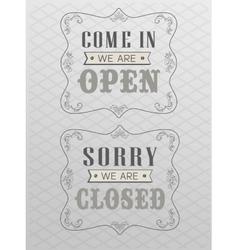 retro open and closed vector image