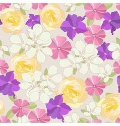 Seamless garden flowers background vector