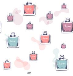 seamless pattern bottle perfume hand vector image