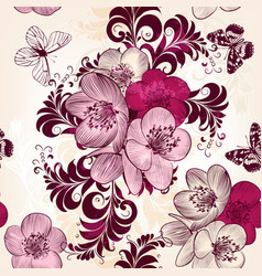 Seamless pattern for wallpaper design with flowers vector