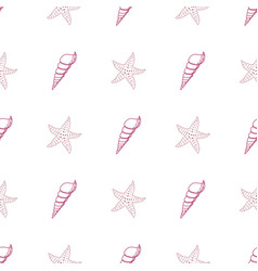 Seamless pattern with seashells and starfish on vector