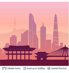 seoul famous city scape vector image