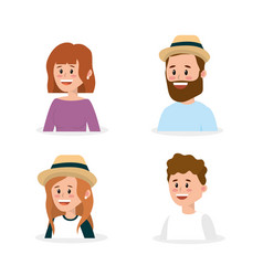 set happy family people with hairstyle vector image